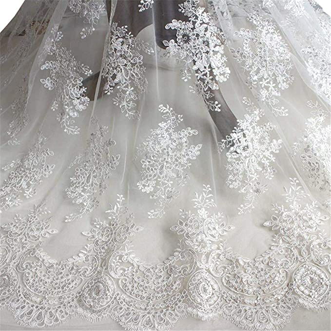 """147cm 1 mtr black pearl beaded tulle net bridal fabric..58"""" wide"""