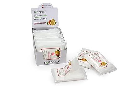 Purdoux - Caja de 120 toallitas húmedas en 12 bolsitas resellables, para mascarilla CPAP,