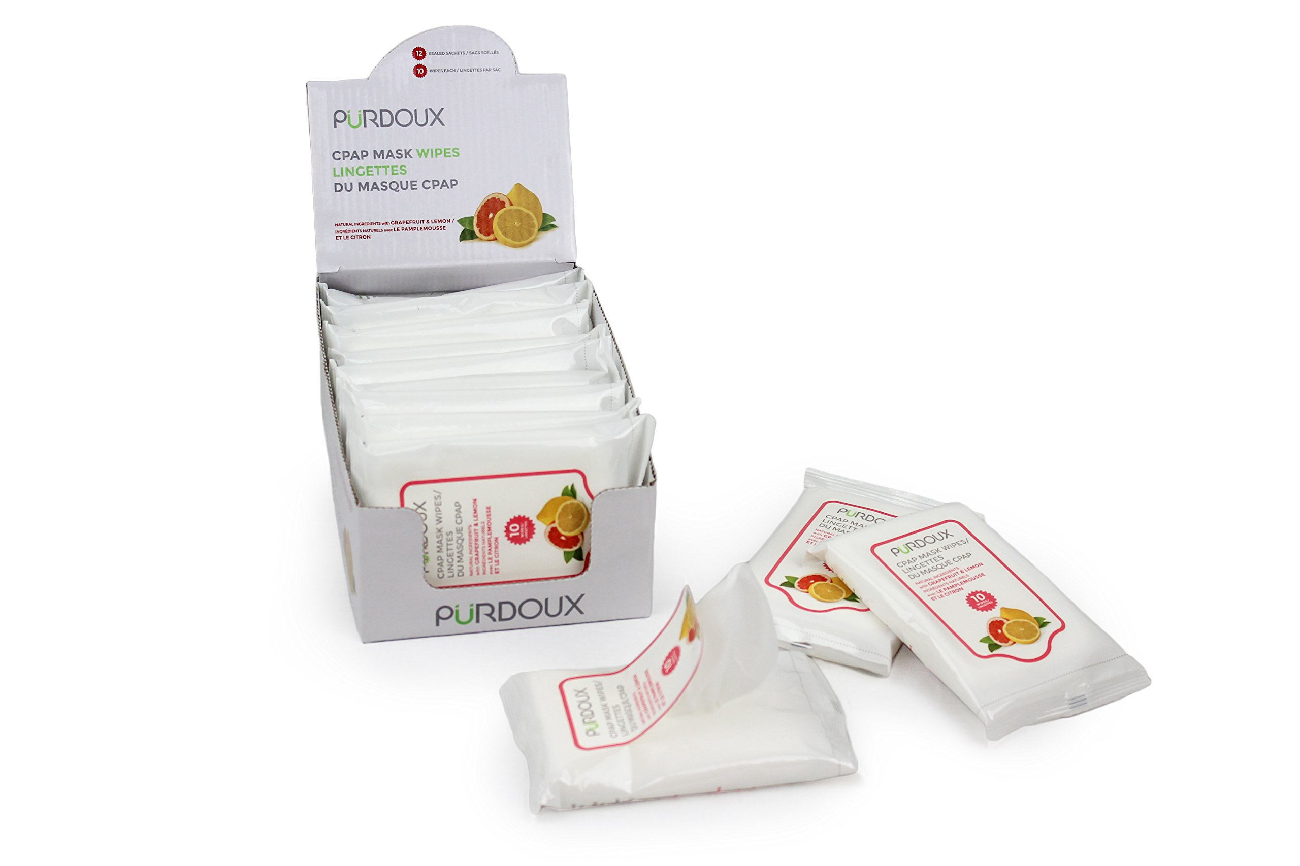 Purdoux PÜRDOUX 100% Cotton CPAP Mask Wipes with Grapefruit Lemon Scent (Box of Total