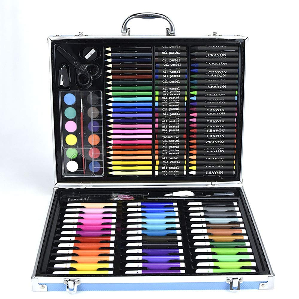 DERTHWER Children's Watercolor Pen Set 150-Piece Deluxe Art Set Art Supplies Drawing Painting and More in A Case Colored Pencil Set DIY Painting Tools (Color : Blue, Size : Free Size)