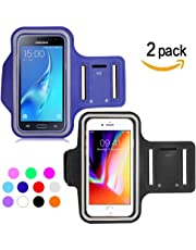 Ycloud [2 Pack] Unisexe Brassard Sport pour Samsung J7 2016/Samsung J7 J710/Samsung S7 Active/Samsung S8, Brassard Réglable, Jusqu'à 5.5 Pouces (Bleu foncé+Noir)