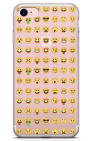 iPhone 7 Case, iPhone 8 Case, Clear Emoji Pattern Phone Case by Casechimp®  | Clear Ultra Thin Lightweight Gel Silicon TPU Protective Cover | Emoticon