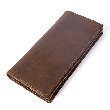b04c69b083a1 NHGY Men's Leather Wallet, Long Open, Multi - Card Handbag, Coffee ...