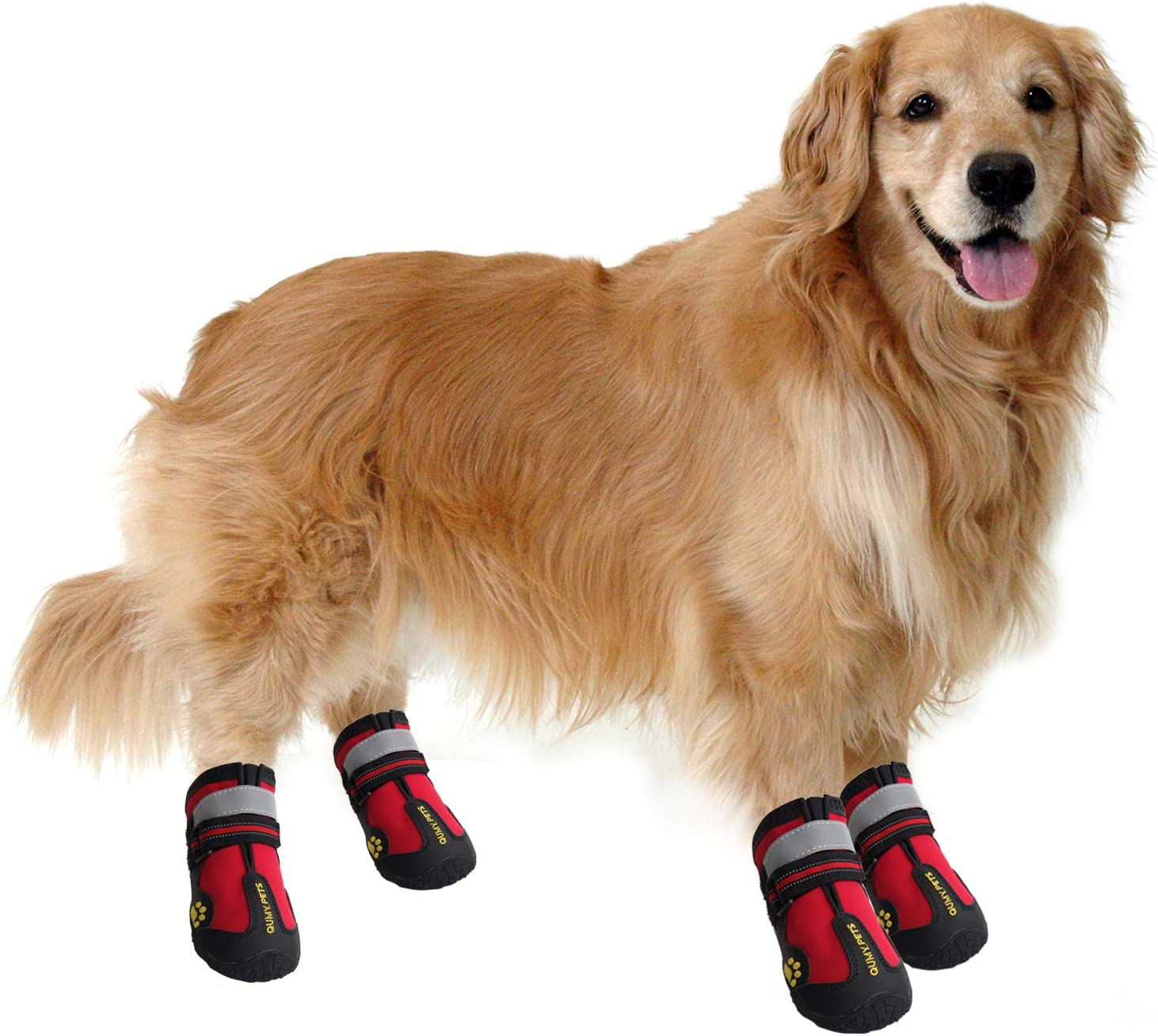 QUMY Dog Boots Waterproof Shoes for Dogs with Reflective Velcro Rugged Anti-Slip Sole Black 4PCS , Red LW Size 2: 2.4x1.7