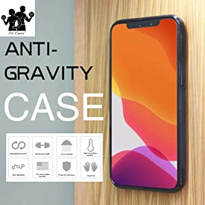 NA. Fit Cases - iPhone Case, Anti Gravity Stick on Mirror, Glass, Flat Smooth Surface, Selfie, Dust Cover, Guaranteed Stick. (Black) (iPhone 7/8/SE 2020 4.7