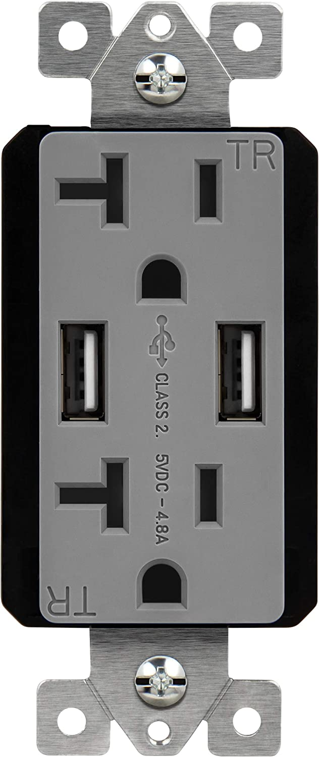 UL Listed Compatible with iPhone XS//MAX//XR//X//8//7 LG TU21548A TOPGREENER 4.8A High Speed USB Wall Outlet HTC Other Smartphones 15A Tamper-Resistant Receptacles Samsung Galaxy S9//S8//S7