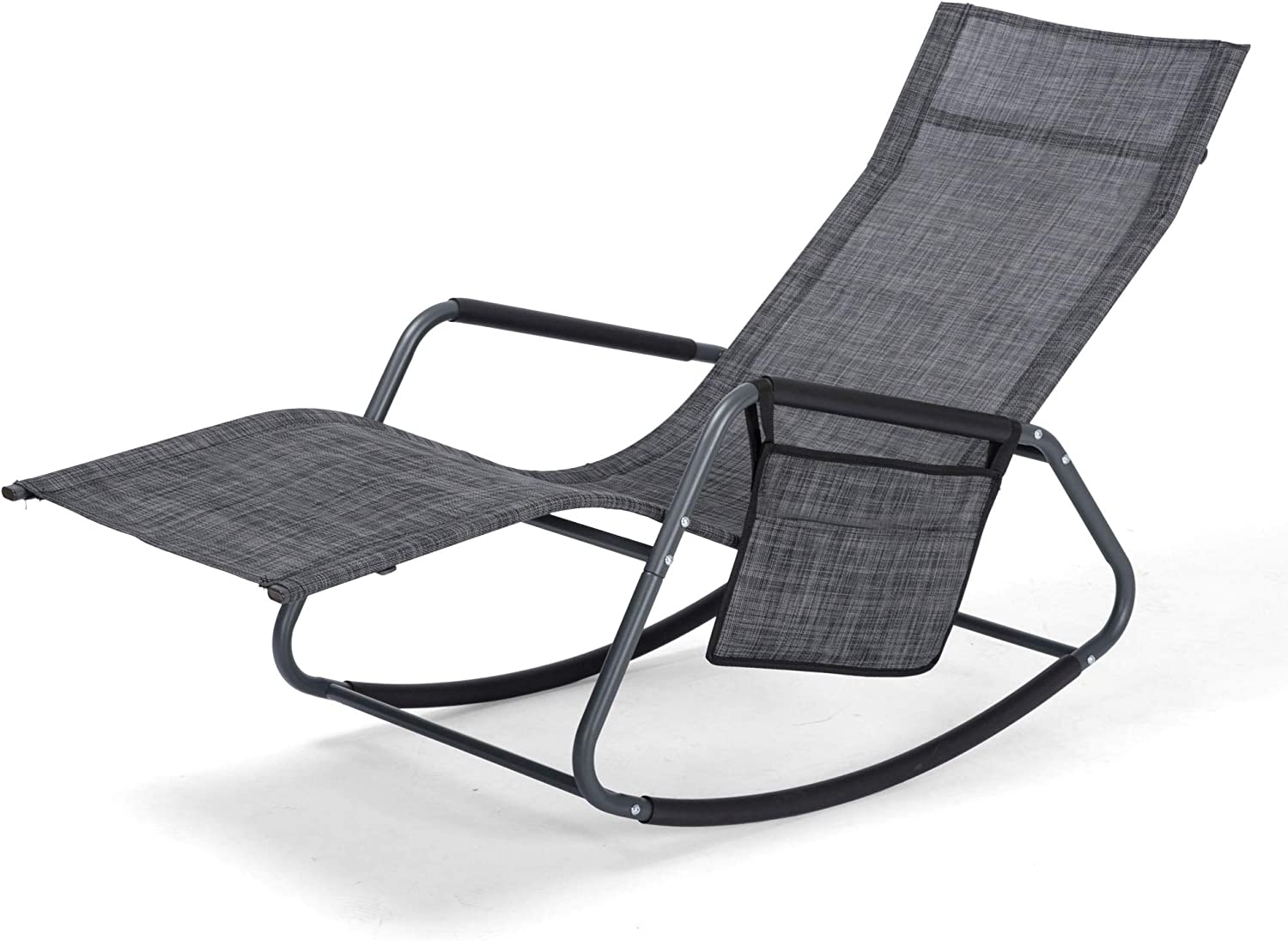 Chaise Lounge Chair Recliner with Portable Storage Bag,265lbs Capacity,Textiline Chaise Reclining Lounge Chairs for Outdoor,Pool,Patio,Lawn(Dark Gray