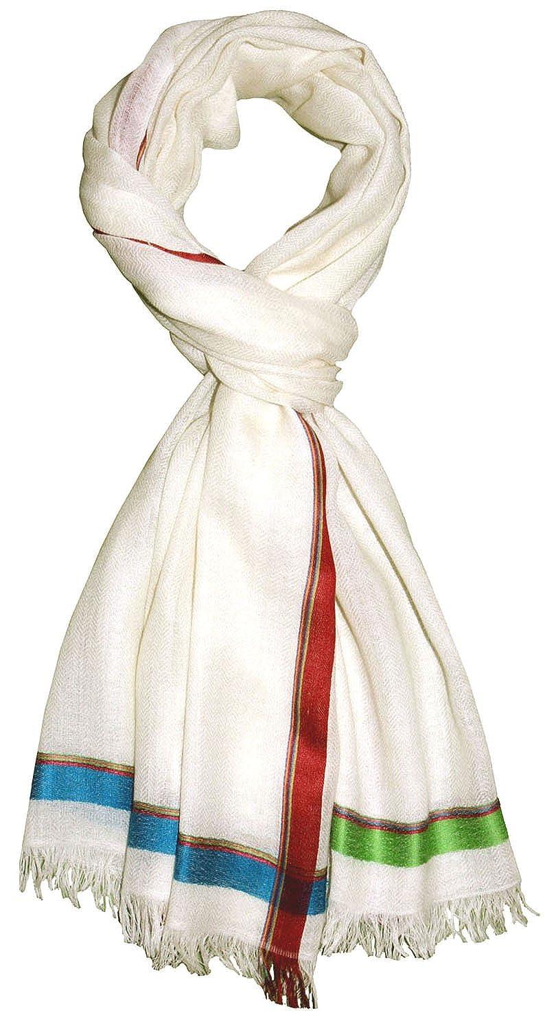 Lorenzo Cana Damenschal Schaltuch 70 cm x 180 cm Schal Naturfaser 50/% Kaschmir 40/% Wolle 10/% Seide Weiss Bunt 78392