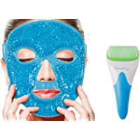 Face Ficial Jade Ice Roller – Gel Eye Mask Cold Reusable Therapy With Cooling Ice Roller Anti Wrinkle Gua Sha Tool for…