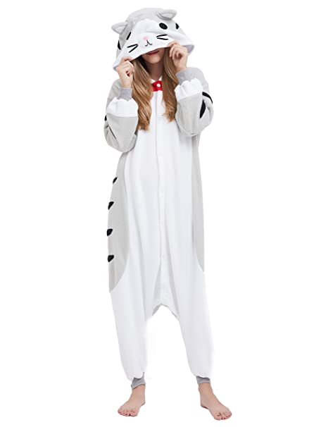 SMITHROAD Jumpsuit Tier Karton Fasching Halloween Kost/üm Sleepsuit Cosplay Fleece-Overall Pyjama Schlafanzug Erwachsene Unisex Nachtw/äsche