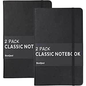 2 Pack Classic Ruled Notebooks/Journals - Premium Thick Paper Faux Leather Writing Notebook, Black, Hard Cover, Large, Lined (5 x 8.25)