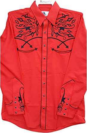 Modestone Mens Embroidered Long Sleeved Fitted Western Camisa Vaquera Filigree Red S: Amazon.es: Ropa y accesorios