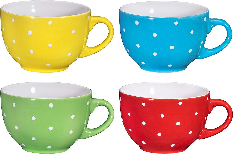 Jumbo Soup Bowl and Cereal Mugs Wide Ceramic Mug Set of 4, 24 Ounce, By Bruntmor (Polka Dot)