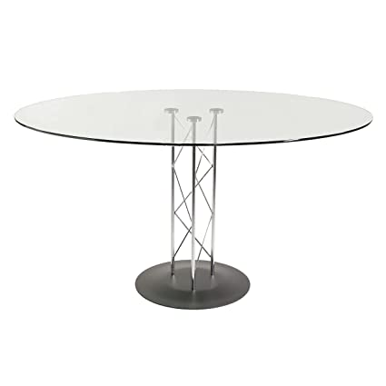 Amazoncom Round Glass Meeting Table W Geometric Design - Round glass conference table