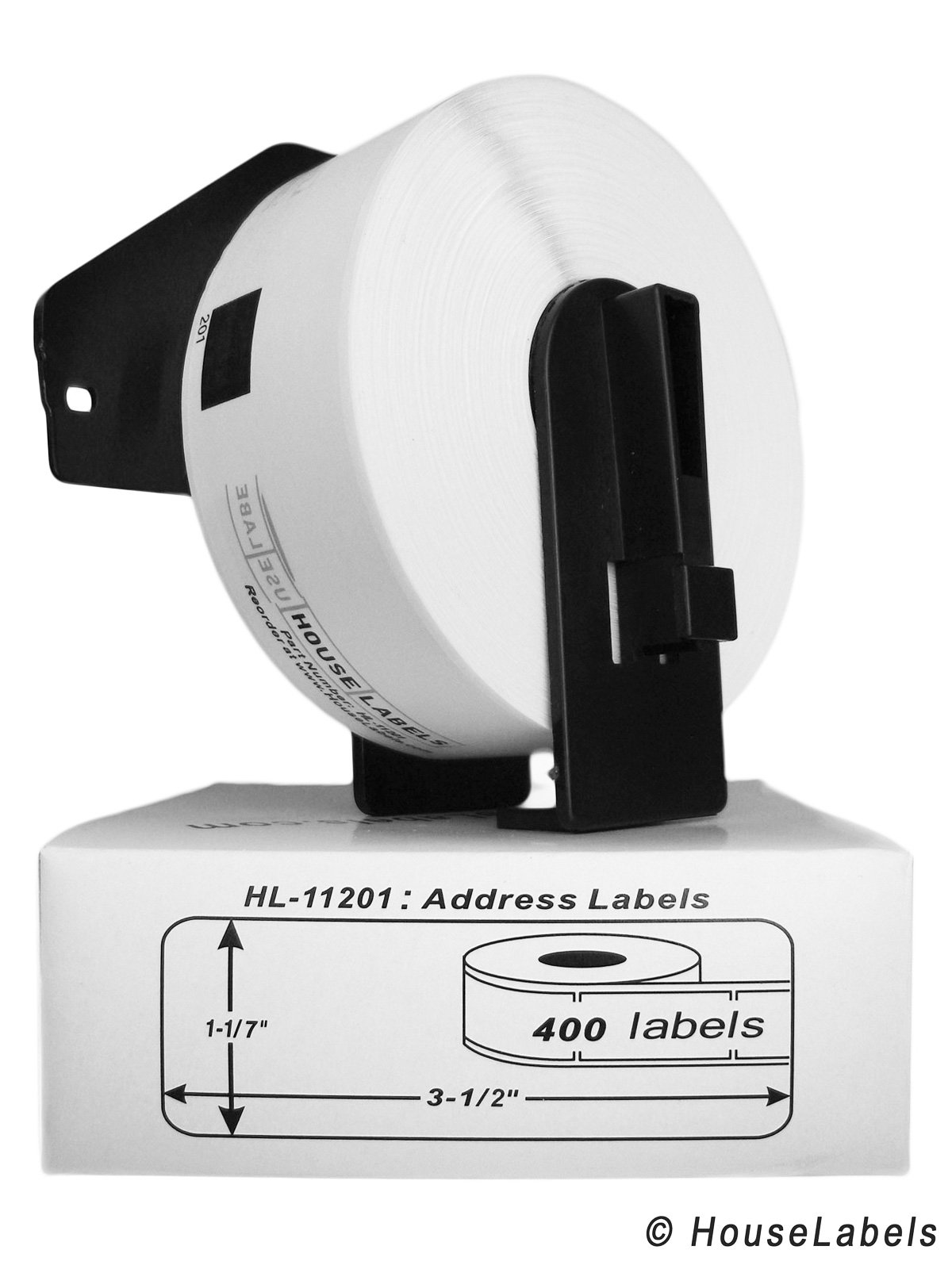 5 Rolls; 400 Labels Per Roll of HouseLabels Brother-compatible Dk-1201 Address Labels with ONE (1) Reusable Black Cartridge (1-1/7'' X 3-1/2''; 29mm90mm) -- BPA Free!
