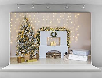 7x5ft christmas background for photo studio lighting wall with white fireplace backdrops booth christmas tree backdrop - Fireplace Christmas Decorations Amazon