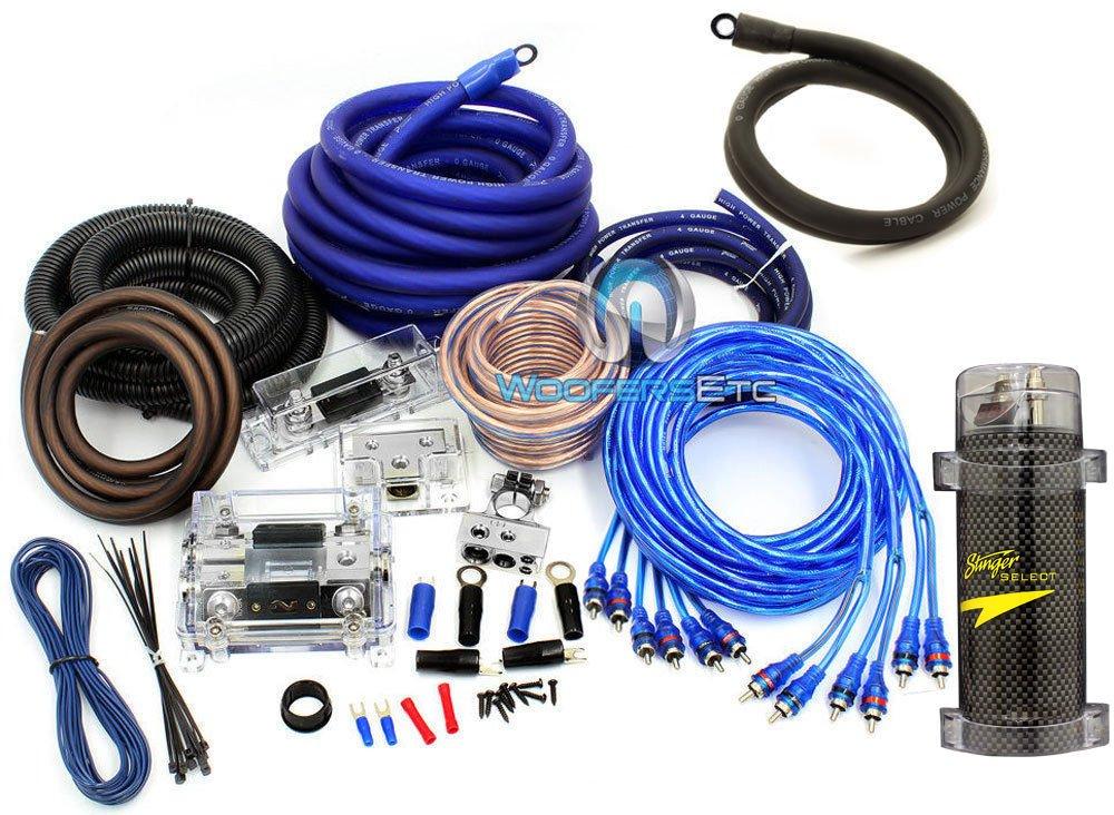 pkg Stinger 3 Farad Digital Power Capacitor and Power Pro 8500W 0 + 4 Gauge Installation 3 RCA Kit by Stinger