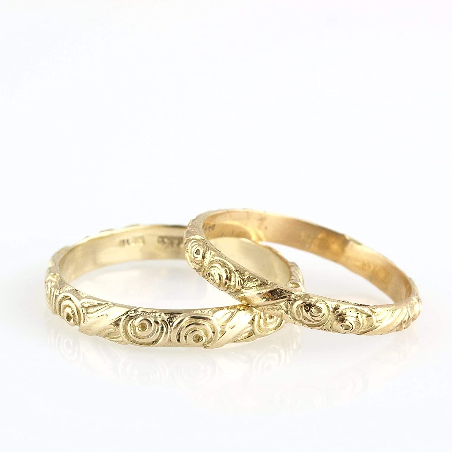 Handmade Vintage Style Floral Engraved 14k Yellow Gold Wedding Band Unique Designer Stackable Ring SIZE 5