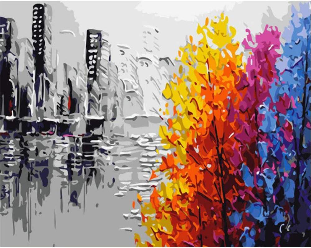 Pintura al óleo, kit por número.Silueta de la ciudad 16x20