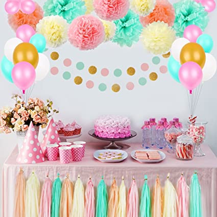 Amazoncom Party Birthday Decorations Pom Poms Flowers Kit paper