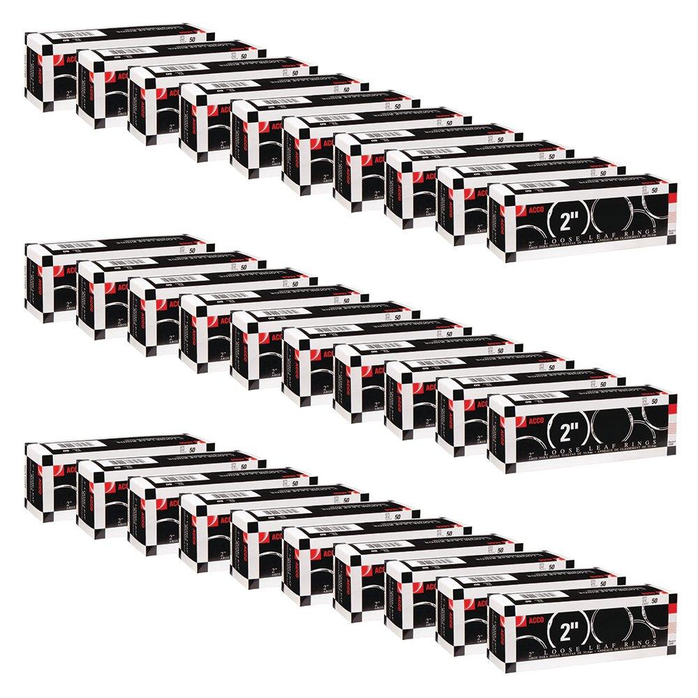 ACCO Loose Leaf Binder Rings, 2'', Silver, 50 Rings/Box (A7072205CS) (Pack Of 30)