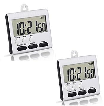 2 pcs Temporizador cocina, WER temporizador de cocina magnético digital con pantalla grande y reloj-función, con el soporte retráctil: Amazon.es: Hogar