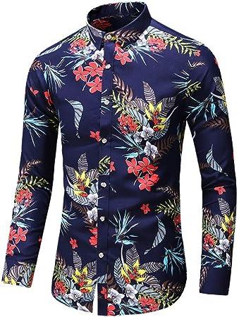 CWENROU Camisas De Hombre,Moda Hombres Delgada Flor Impresión ...