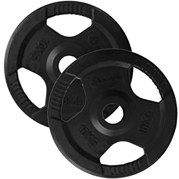 TRI-GRIP Cast Iron Olympic Disc Weight Plates EZ Bar Barbell Weights Fitness Gym