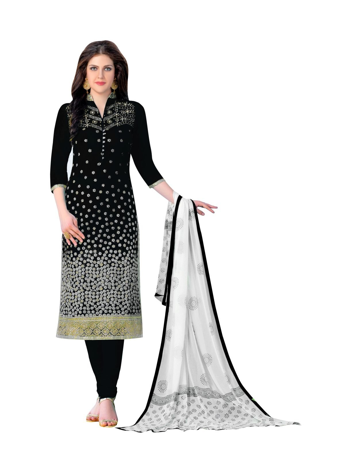 Areum Black Colored Pure Heavy Glass Cotton Embroidered Un-Stitched Dress Material For Women