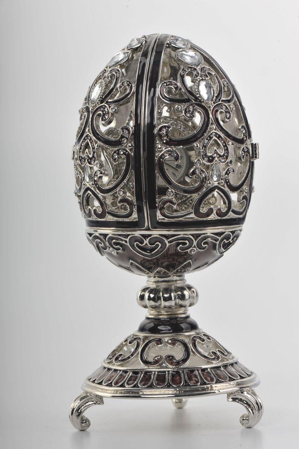 Keren Kopal Silver & Black Faberge Egg Trinket Box with a Pearl and a Clock Inside