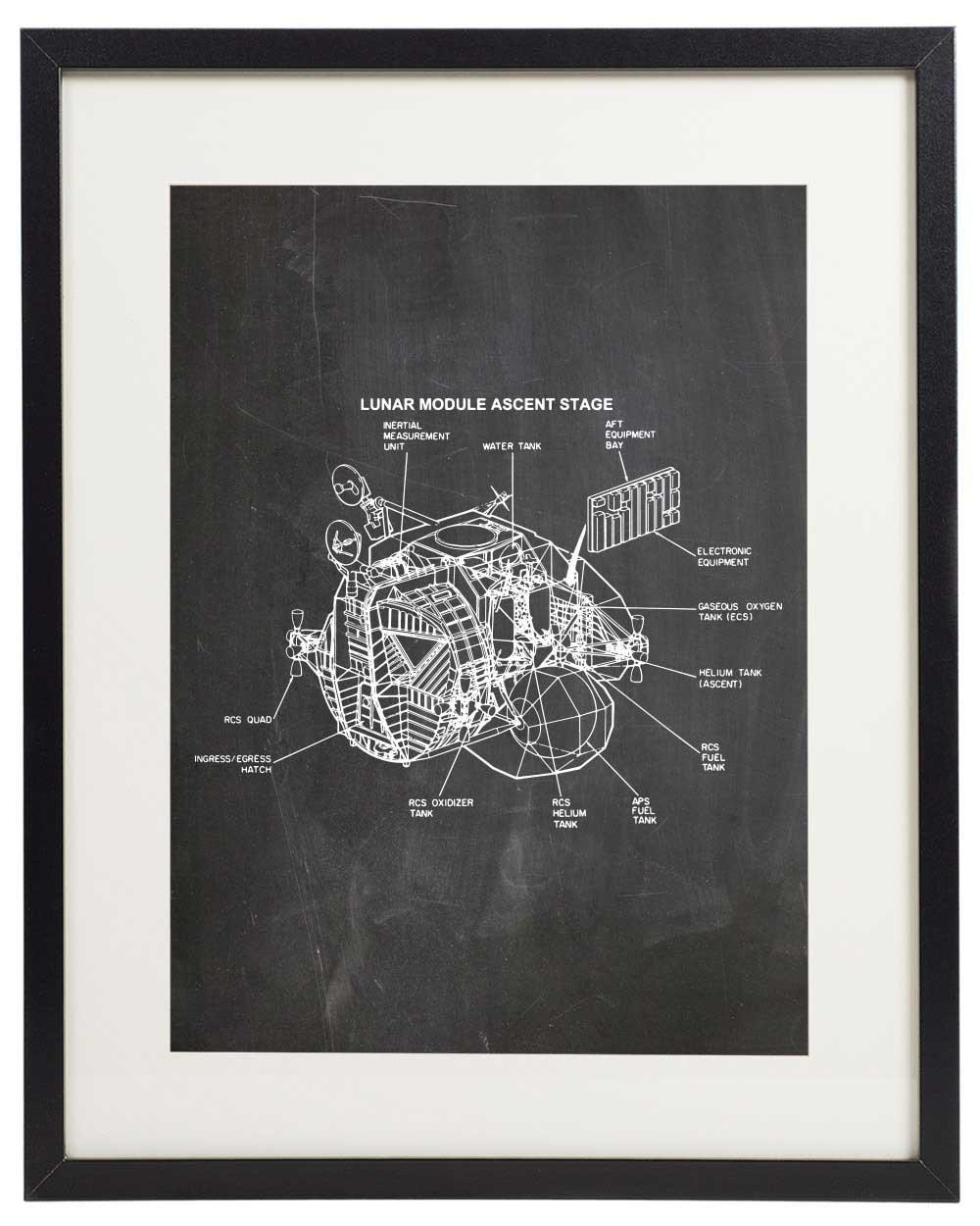 IDIOPIX Space 04 Patent Wall Decor Chalkboard Art Print Set of 6 Prints UNFRAMED