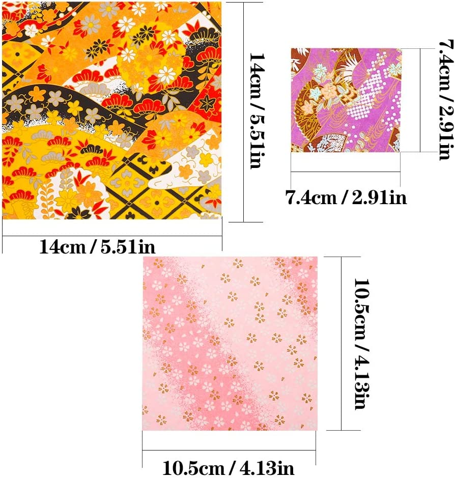 angelikashalala Origami Paper 60 Sheets Square Pattern Paper 3 Sizes Single Sided Craft Paper for DIY Crafts Projects-14x14cm,7.4x7.4cm,10.5x10.5cm