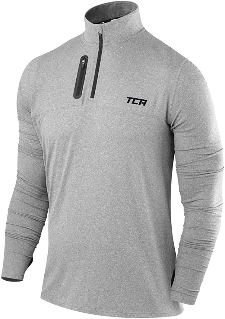 TCA Men's Fusion Pro Quickdry Long Sleeve Half-Zip Running Shirt: Clothing