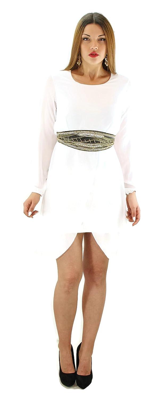 #931 Damen Designer Kleid Knielang Goldborte Strass Pailletten Chiffon Langarm Schwarz Weiss Dunkelrot