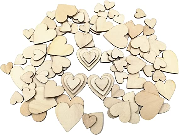 8x Mini Natural Hollow Heart Wooden Shapes for Wedding Party Decoration