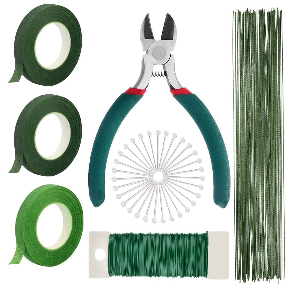 Paxcoo Floral Arrangement Supplies with Floral Wire 26 Gauge Green Floral Tapes Wire Cutter Paddle Wire and 100 Pieces Ball Head Pins for Bouquet Stem Wrap Florist 4336861603