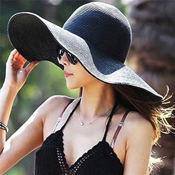 grand choix de détaillant gamme de couleurs exceptionnelle Nouveau chapeau large bord chapeau de plage pour les femmes Black