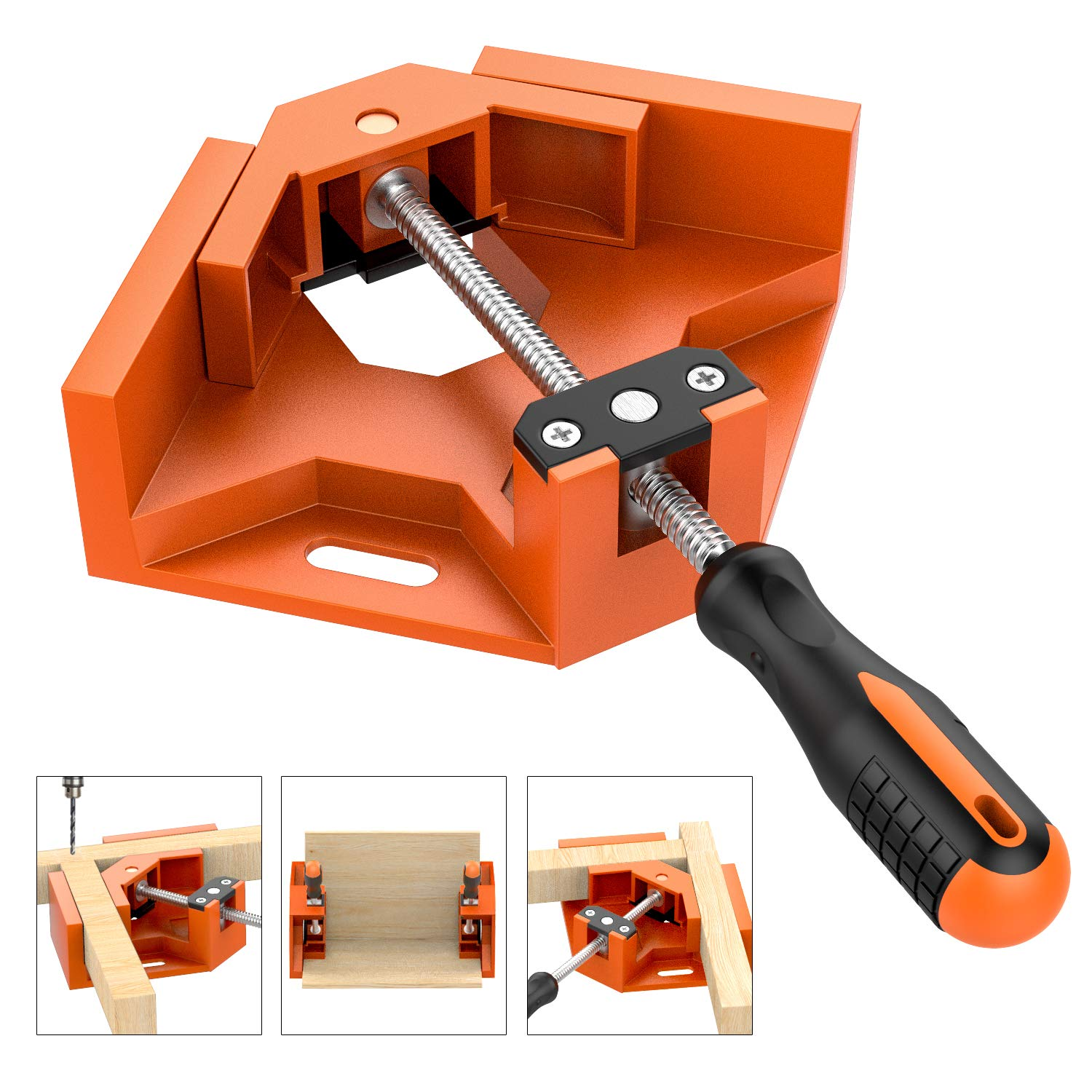 Right Angle Clamp, Housolution Single Handle 90° Aluminum Alloy Corner Clamp, Right Angle Clip Clamp Tool Woodworking Photo Frame Vise Holder with Adjustable Swing Jaw - Orange