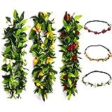 "KUMEED 47"" Tropical Hawaiian Luau Lei Assorted Color Leaf Party Favors Leis Flowers with Headband"