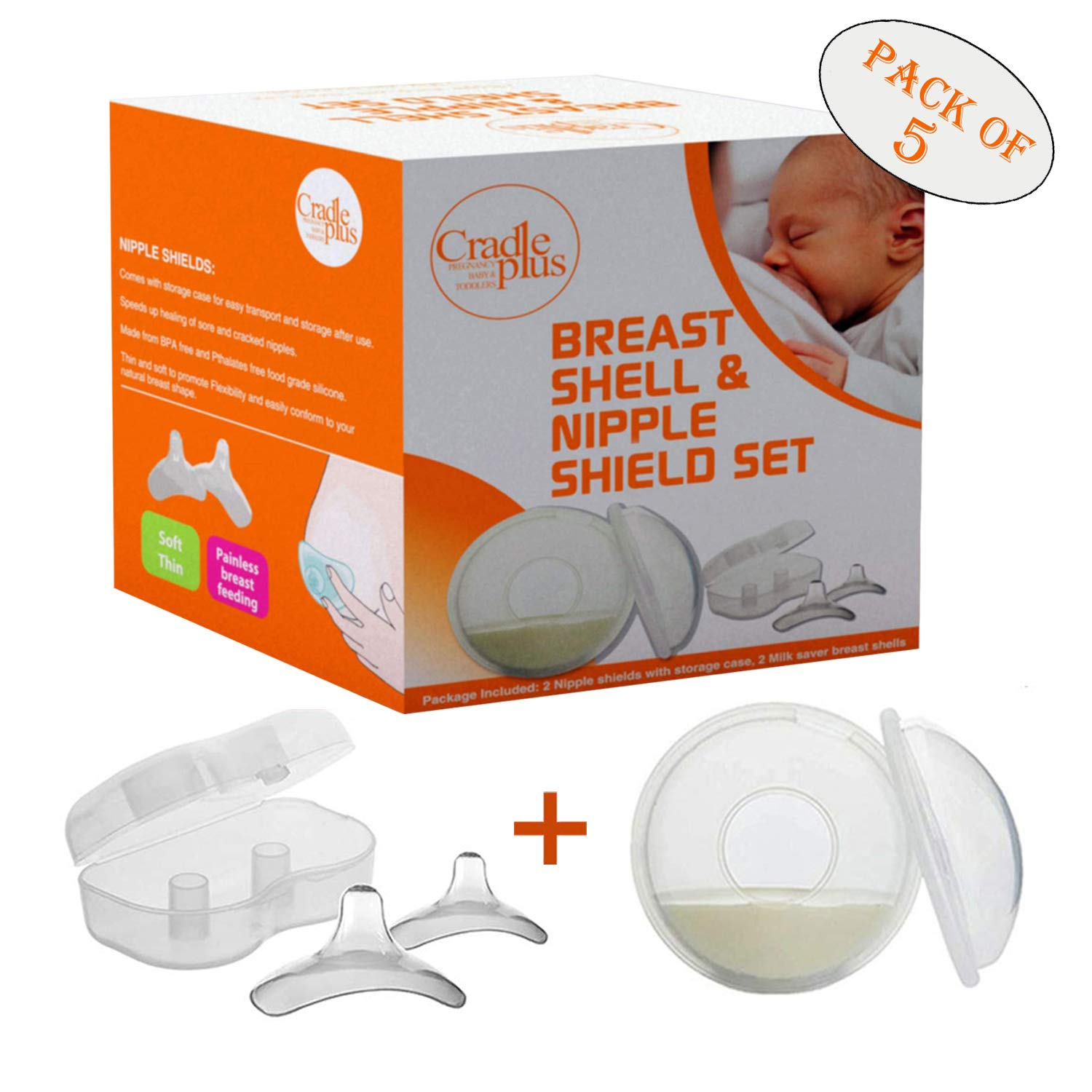 Nippleshield and Breast Shell for Breast Feeding   Nipple Shield in Storage case   Breastfeeding Essentials   Milk Savers or BreastMilk Catcher   Protects Sore Nipples & Collects Breast Milk Leaks by CRADLE PLUS PREGNANCY BABY & TODDLERS