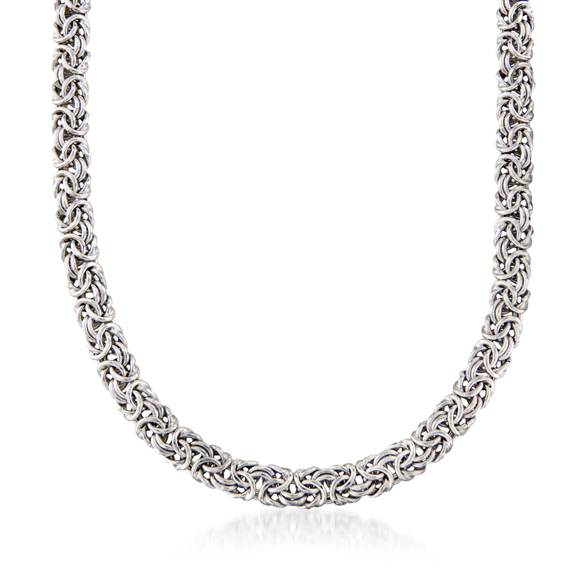 Ross-Simons Sterling Silver Classic Byzantine Necklace, Made in Italy, Includes Presentation Box