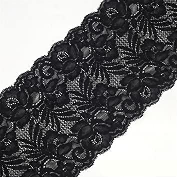 6.2 Inch Stretch Lace Trims Floral Embroidered Elastic Fabric for Garment and DIY Craft Supply by 5 Yards Black