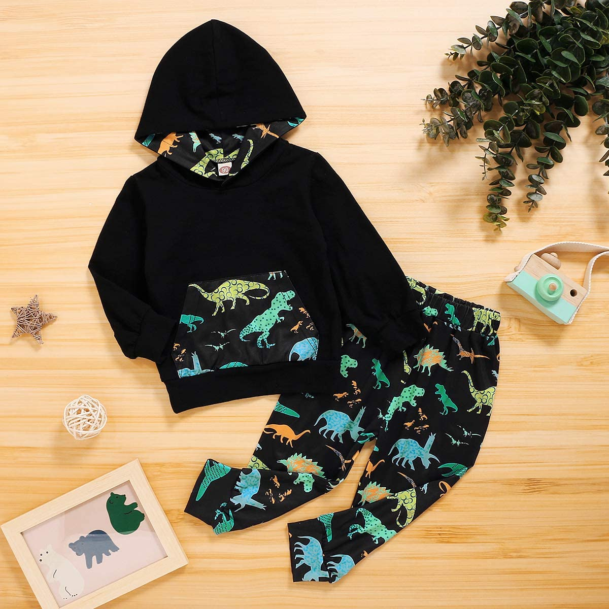 puseky 2pcs Kids Toddler Boy Fashion Dinosaur Clothes Hoodie Shirt+Pants Outfits Tracksuit Set
