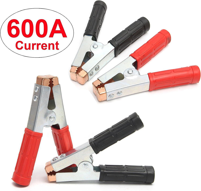 Fydun Pinzas de cocodrilo para autom/óvil Pinza de cocodrilo aislante 500AMP Abrazadera de cocodrilo para bater/ía de autom/óvil para bater/ías de 6V 12V