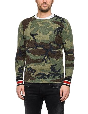 replay damen camo sweatshirt