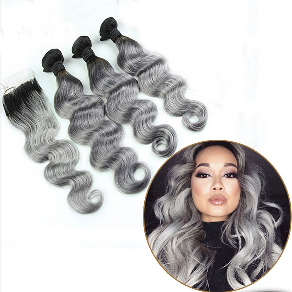 Ombre Hair Weave Body Wave 1B/Grey 7A Brazilian Peruvian Indian Virgin Hair Bundles With Lace Top Closure Silver Hair Extensions(16 18 20 with 14 Inch)