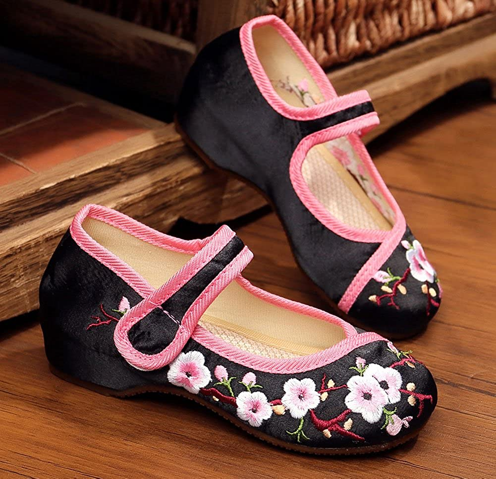 AvaCostume Girls Peach Blossom Embroidery Flats Mary Jane Shoes