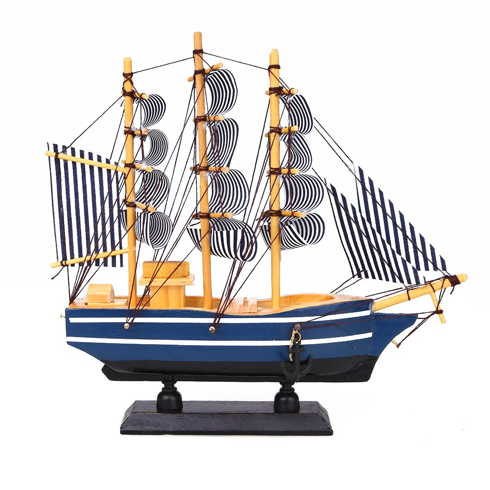 Kicode Mediterranean Style Ship Sailing Boat Collectable Wooden Artificial Model Decoration Nautical Gift Merchant Navy Ornaments