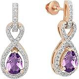 Dazzlingrock Collection 10K 7X5 MM Each Pear Gemstone & Round Diamond Infinity Swirl Teardrop Dangling Drop Earrings, Rose Go