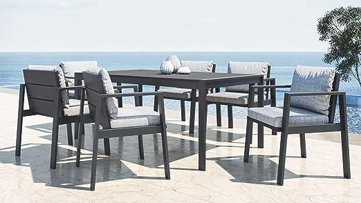 ARTELIA Rosario L - Conjunto de muebles de jardín de aluminio, para 6 comensales, para jardín, color antracita: Amazon.es: Jardín
